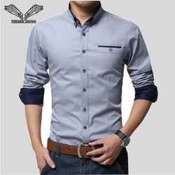 BestOnlineBrand Men Shirts Long Sleeve Turn-down Collar 100% Cotton