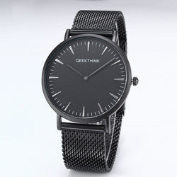 BestOnlineBrand Fashionable Ultra Thin Luxury Quartz Stainless Steel Mesh Strap Watch For Men - Black/White/Blue