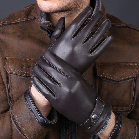 BestBuySale Gloves & Mittens Winter fashion Luxury Genuine Leather Men's Gloves - Coffee/Black/Brown
