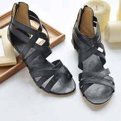 BestOnlineWomen's Ankle Strap Flat Sandals Summer Shoes - Black/Brown/White