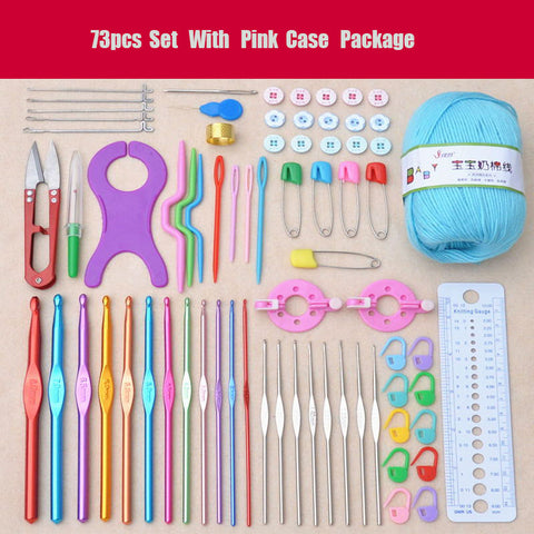 BestOnline73Pcs Crochet Kit Set with Case Weaving Tools Sweater Needle Stainless Steel Sewing Tools Accessory