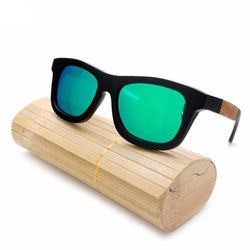 SunglassesOnlineUSA Wooden Square Style Sunglasses + Wood Gift Box - Green,Silver,Yellow,Blue