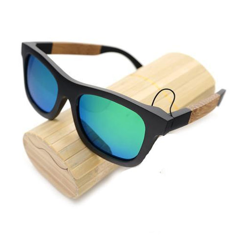 BestBuySale Sunglasses Wooden Square Style Sunglasses + Wood Gift Box - Green,Silver,Yellow,Blue