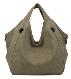 BestBuySaleWomen's Fashion Plain Canvas Tote Bag - Blue/Brown/Gray/Army Green/Khaki/Red