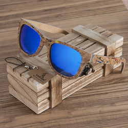 BestOnlineSquare Wood Frame Sunglasses + Wood Gift Box - Blue,Yellow,Green
