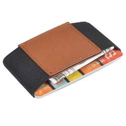 BestOnlineMinimalist Slim Elastic Credit Card Holder Wallet - Brown/Black