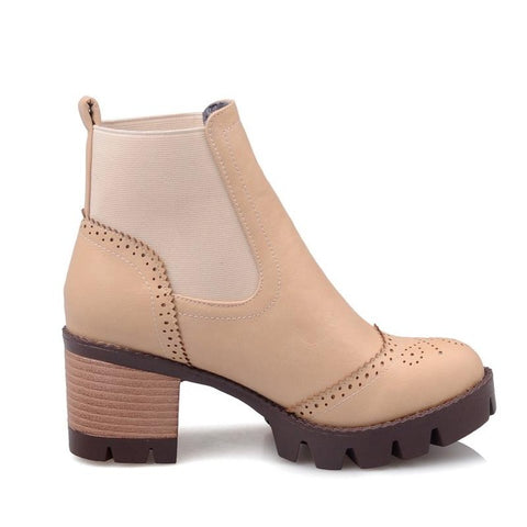 BestOnlineWomen's Ankle Boots with Square Heels - Beige /Black/Gray