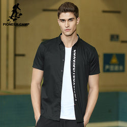 BestOnlineMen's Short Sleeve Cotton & Spandex Casual Shirt