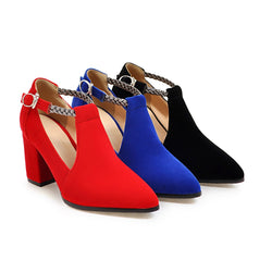 BestOnlineWomen's Fashion Elegant Square High Heels Shoes - Black,Blue,Red