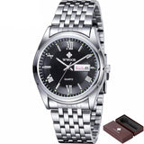 BestOnlineMen's Luminous Luxury Stainless Steel Strap Fashionable Brand Watch - Black/Blue/White