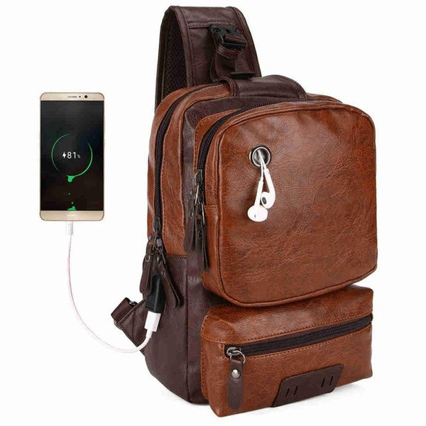 BestOnlineAnti-theft External USB Charge Men's Crossbody Large Capacity Casual Pu Leather Travel Bag - Black/Brown/Blue