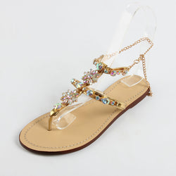 BestOnlineWomen's Buckle Strap Rhinestones Chains Fashion Gladiator Flat Summer Sandals Shoes