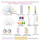 BestOnline90pcs Crochet Hooks Set  Ergonomics Knitting Needles Aluminum Weave Craft Sewing Tools with  Case Bag