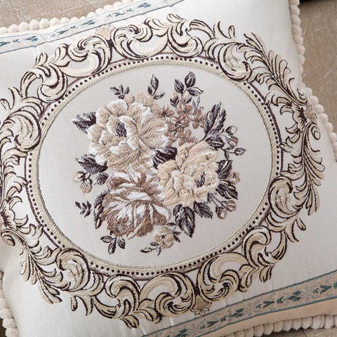 BestBuySale Cushion Covers Luxury Jacquard Floral Cushion Cover Pillow Case Square Rectangular Round