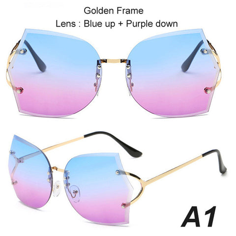 BestBuySale Women's Sunglasses Summer Fashion Oversize Rimless Gradient Metal Frame Sunglasses For Women