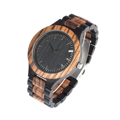 BestBuySale Watch Brand Fashion Designer Men's Zebra Wooden Quartz Watches in Gift Box
