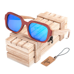 SunglassesOnlineUSA Polarized Men's & Women's Wooden Frame Mirror Sunglasses With Wooden Gift Box - Blue/Orange Lens