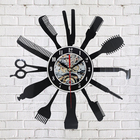 BestOnlineCreative Vinyl Wall Clock Gift Idea for Barber Hair Beauty Salon Hairdresser Barber Shop