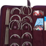 BestOnline104pcs/set 20 Sizes Stainless Steel Straight Circular Knitting Needles Crochet Hook Weave Set Household Sewing Tool with Case