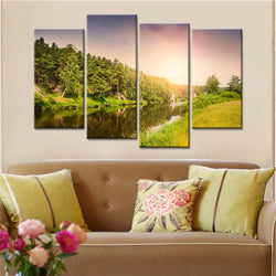 BestOnlineFrameless 4 Piece Sunset Landscape Wall Art Canvas Painting