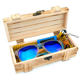 BestOnlinePolarized Sunglasses In Wood Gift Box - Yellow,Blue Lenses