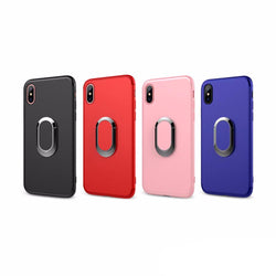 BestBuySale Cases LUXURY IPHONE X CASE WITH PLATING RING FINGER USED AS KICKSTAND - BLACK,BLUE,PINK,RED