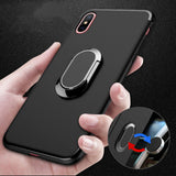 BestBuySaleLUXURY IPHONE X CASE WITH PLATING RING FINGER USED AS KICKSTAND - BLACK,BLUE,PINK,RED