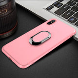 BestOnlineLUXURY IPHONE X CASE WITH PLATING RING FINGER USED AS KICKSTAND - BLACK,BLUE,PINK,RED