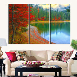 BestOnline3 Piece Set Red Leaves Landscape Wall Canvas Painting For Living Room Decoration
