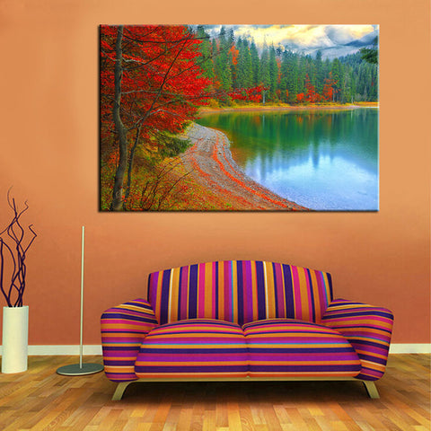 BestBuySale3 Piece Set Red Leaves Landscape Wall Canvas Painting For Living Room Decoration