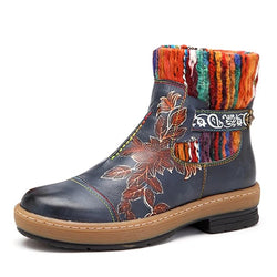 BestBuySale Boots Women's Fashion Vintage Bohemian Winter Leather Blue Ankle Boots