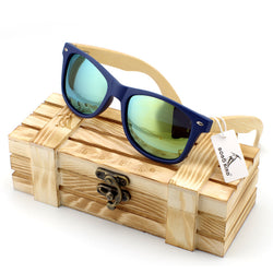 BestOnlineVintage Style Wooden Leg Sunglasses in Wood Gift Box - Green,Blue,Silver,Gold