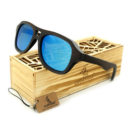 SunglassesOnlineUSA Vintage Pilot Wooden Sunglasses In Gift Box - Green,Blue,Grey,Silver