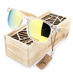 BestBuySale Men Polarized Sunglasses In Wood Gift Box - Yellow,Blue Lenses