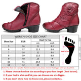 BestBuySale Boots Fashion Women's Leather Floral Square Heel Winter Boots - Red,Gray