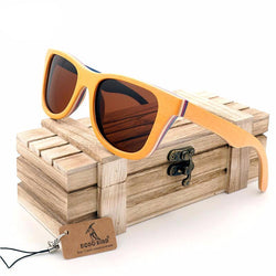 BestOnlineSkateboard Wooden Sunglasses in Wooden Gift Box - Brown,Grey