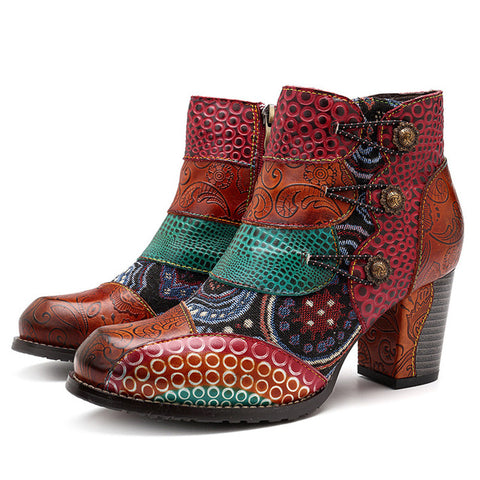 BestBuySale Boots Women's Western High Heels Vintage Printed Leather Ankle Boots