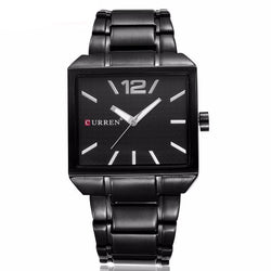 BestBuySaleCurren Men's New Fashion Analog Quartz Stainless Steel Waterproof Brand Square Watch - Black/Silver