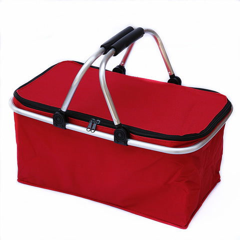 BestOnlineOutdoor Camping Folding Cooler Insulated Picnic Baskets 600D Oxford /Aluminum Frame Handles Foldable Shopping Basket