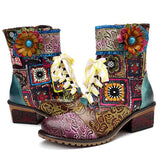 BestBuySale Boots Bohemian Retro Cowgirl Women's Leather Ankle Boots With Zipper