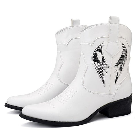 BestBuySale Boots Women's Fashion Cowgirl Western Ankle Boots - Black,White