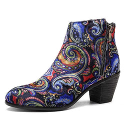 BestBuySale Boots Printed Floral Design Women's Heels Winter Western Ankle Boots
