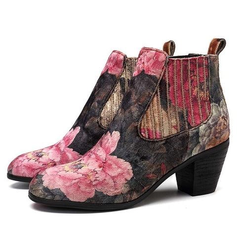 BestBuySale Boots Women's Floral Printed Design Fashion Velvet Square Heel Ankle Boots