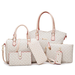 BestOnlineWomen's Pu Leather Bags- 6 Pieces Set - Beige/Pink/Blue/Brown