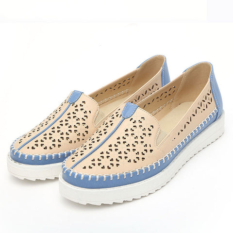BestBuySale Flats Women's Fashion Slip On Comfortable Flat Loafer Shoes - Beige Blue, White Blue, Yellow White