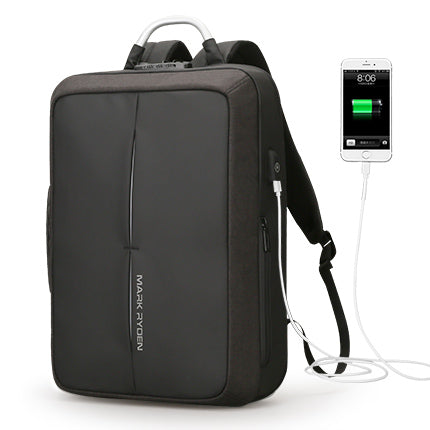 BestOnlineFashion Anti Theft USB Charging Backpack With Custom Lock - Black,Gray