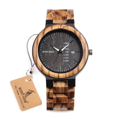 BestOnlineFashion Two-tone Wooden Quartz Watch With Date Display in Gift Box - Brown,Black