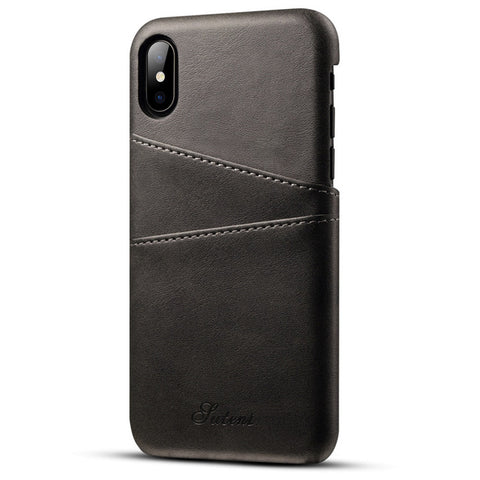 BestOnlineBusiness Luxury Pu Leather Vintage Credit Card Holder Back Cover Wallet Card Case For Apple iPhone 8