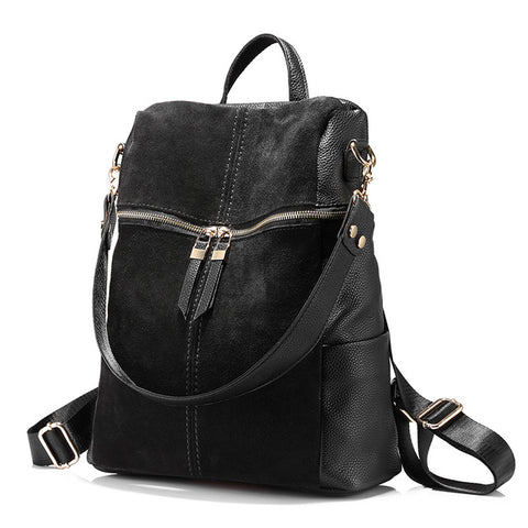 BestOnlineVintage Women's Leather Backpack - Black,Khaki,Red