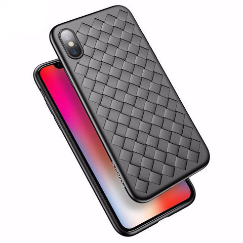 BestBuySale iPhone X Woven Soft Silicone Case For iPhone X - Black,Red,Blue,Pink